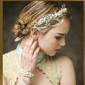 Pearl tiara bridal headband handmade headdress wholesale pearl jewelry wedding crowns hair accessories