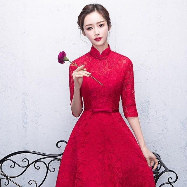 2017 Red Cheongsam Lace Qipao Evening Dresses Traditional Wedding ...