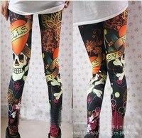 Customized Sexy Legging 2017 Spring Skeleton Pattern Printing Imitate Jean Legging Pants Edhardy Inspired Leggings