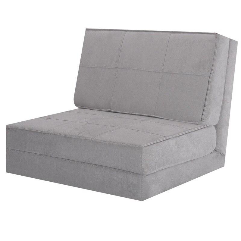 Chaise longue Convertible canapé pliant lit couchette moderne Ultra-daim lit pliant canapé avec oreiller plié maison chambre meubles