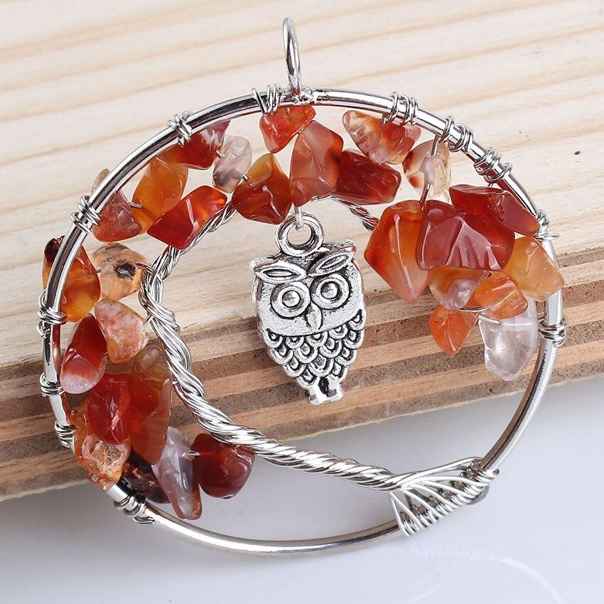 19b190b940d4 Moda de plata plateada carnelian Árbol de la vida del embutido búho  sabiduría colgante collar con cuerda cadena joyería de moda