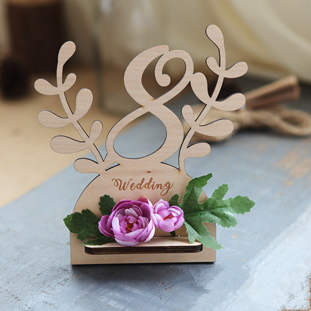 Unique Table Numbers For Wedding Reception Ideas: Wooden Hollow Wedding Table Card Unique Wedding Seating