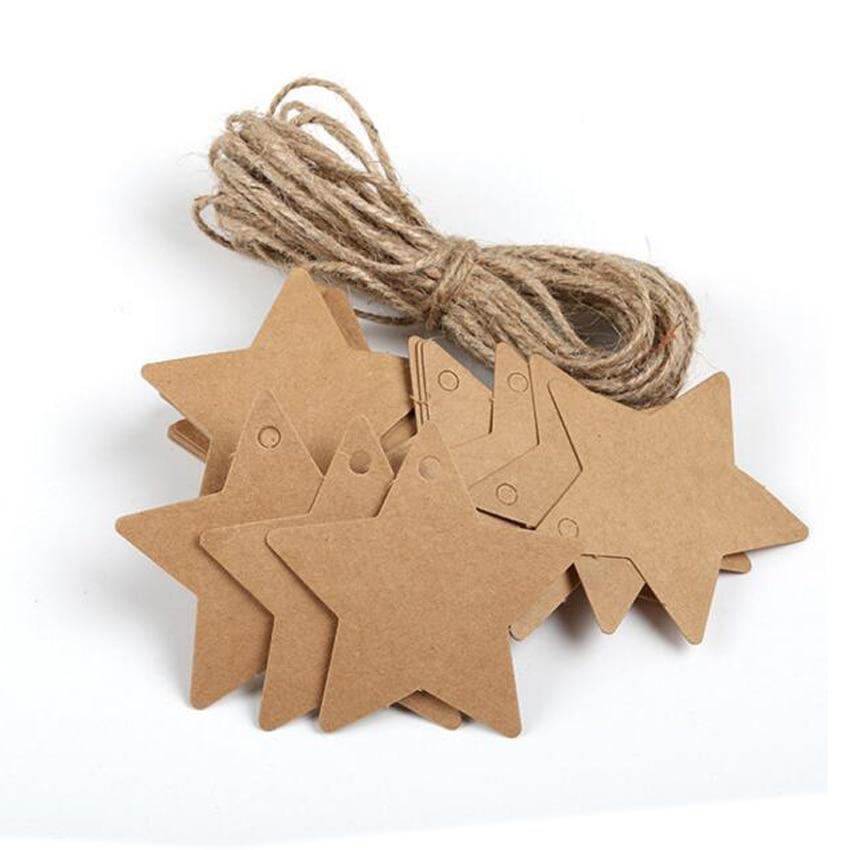 unids estrella de cinco puntas tarjeta de papel kraft etiqueta de la cada diseo de