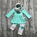 ОСЕНЬ/Зима шарф набор детей костюм новорожденных девочек мяты печати стрелка 100% хлопок 3 шт длинные рукава брюки бутик одежда для детей