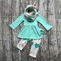 OUTONO/Inverno cachecol definir crianças terno do bebê meninas hortelã seta impressão 100% algodão 3 peças calças de mangas compridas boutique roupa dos miúdos