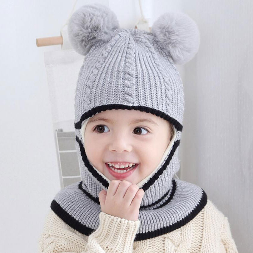 Beanie Warm Hat Kids Children Knitted Hooded Scarf Winter Circulal Knit Striped Pom Pom Earflap Cap Scarves Child Accessories