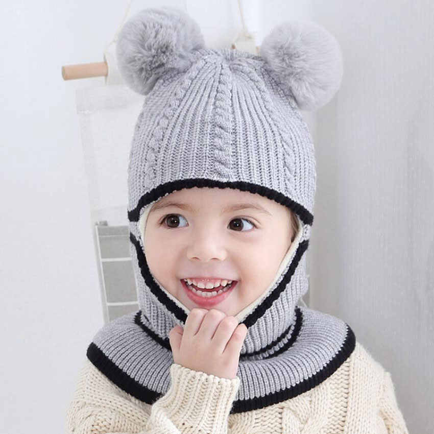 f297150c4 Beanie Warm Hat Kids Children Knitted Hooded Scarf Winter Circulal Knit  Striped Pom Pom Earflap Cap Scarves Child Accessories