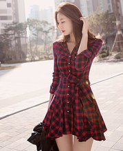 Women Dress Red Plaid Printed Blouse Dresses Fashion Irregular Long Sleeve Mini Vestidos With Belt L8146