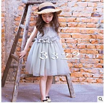 2018 Girls summer flower sleeveless princess dresses , baby girl dresses , costume for kids , 5pcs/lot  BYY01