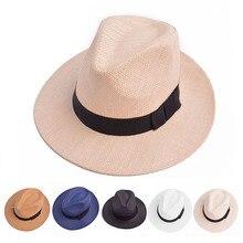 Женская мужская соломенная шляпа летняя повседневная Пляжная Панама джазовая, Шляпа Унисекс Fedora cap с черной лентой