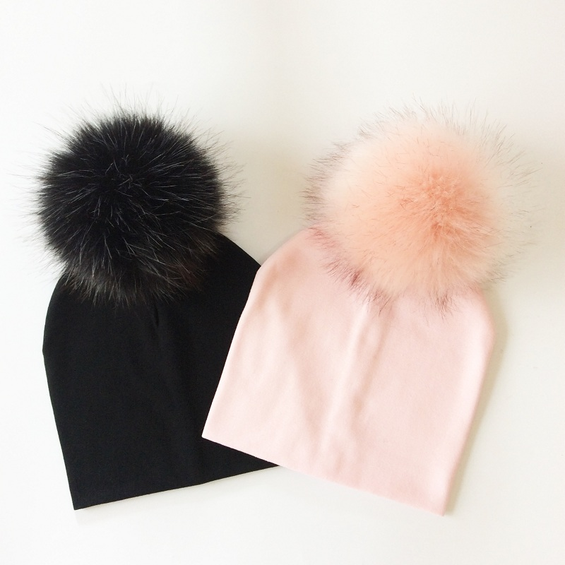Baby Hat Kids Cotton Pompom Hat Winter Cap For Baby Girls And Boys Children's Accessories trendy cotton fedora hat cap black