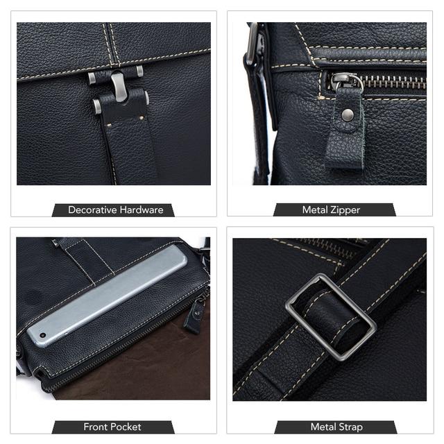 WESTAl genuine leather shoulder bag for men crossbody bags ipad flap zipper messenger bag men leather handbag for documents 8835