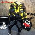 Chifave 2016 Grossas de Inverno Quente Meninos Do Bebê Conjuntos de Fatos de Camuflagem Com Capuz Zipper Camisola + Impressão Calças Elásticas 2 Pcs Crianças meninos Conjuntos
