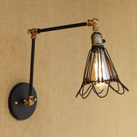 Vintage Loft Industrial wall lamp iron wire lampshade free adjust long swing arm for living room bedroom restaurant bar E27
