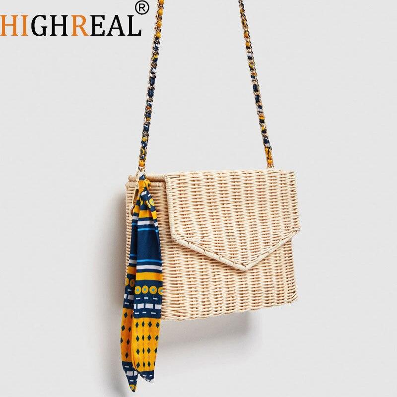 Été chaud Beige noir femmes sac à bandoulière fait à la main exquise sacs de paille tissé rabat doux pastorale rotin filles sac