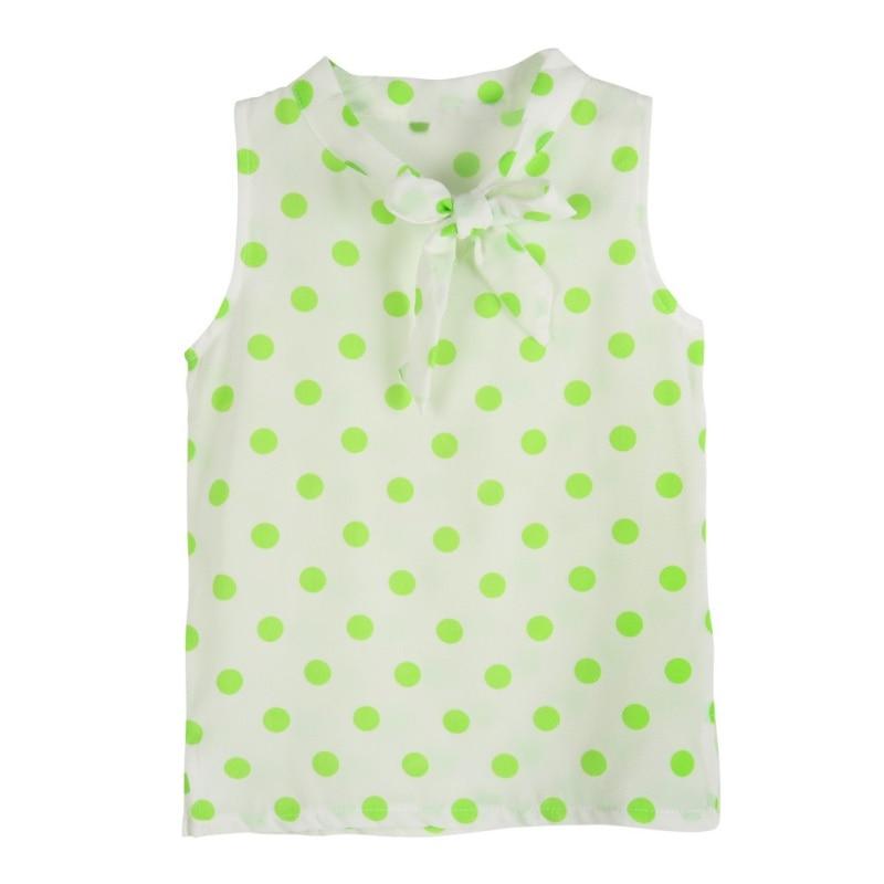 Summer Baby Girls Cloth Sets Polka Dot Print Sleeveless Tops Shirt + Casual Bow Tie Shorts Suits 2PCs Hot
