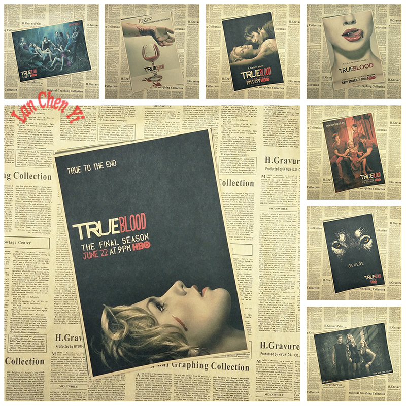 Multiple awards Classic Movie True Blood Nostalgic Kraft Paper Poster Office Gift Room Dining Home Decor wall sticker Design