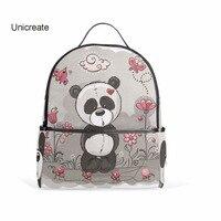 Unicreate рюкзак панда цветы серый Сумки путешествия рюкзак Обувь для девочек 'молнии школа обучения детей сумка для мальчиков и девочек Сумки