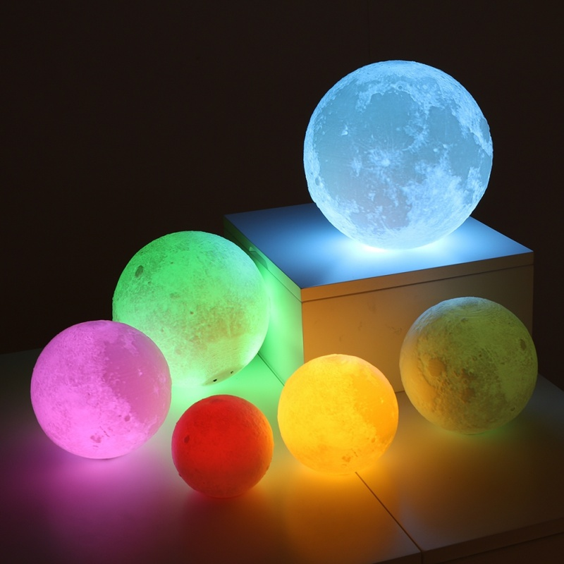 Rechargeable 3D Print Moon Figurines Change Touch Switch Bedroom Light Miniatures