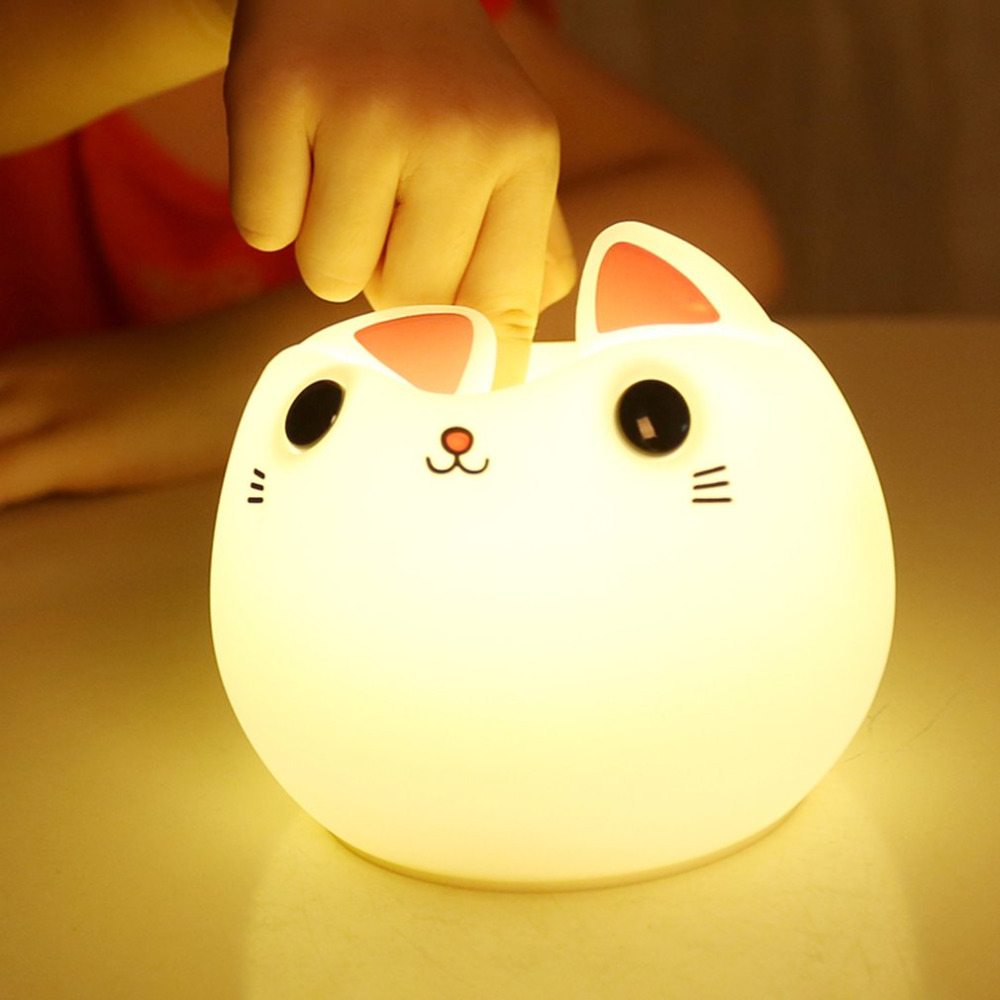 Colorful silicone cat Night light LED USB lamp Cute Animal Soft Cartoon Lamps Fine Gift For Children Bedroom Baby Nursery premium 7 colors led usb children animal night light silicone soft cartoon baby nursery lamp breathing led night light