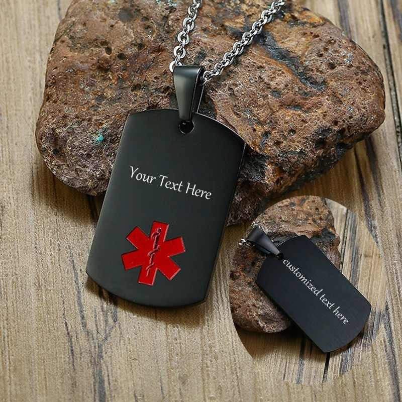 Personalized Medical Alert Dog Tag Pendant Stainless Steel In Black Gold Silver Colors Men Male Custom ID Jewelry