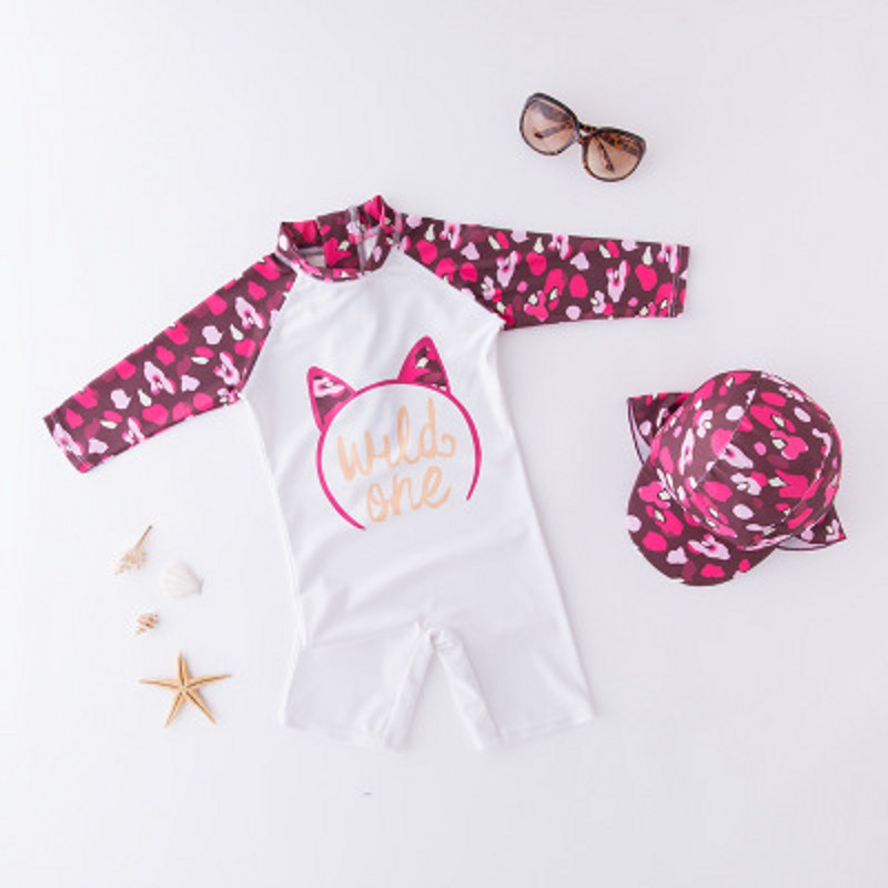 Baby Girl Swimwear Children Cartoon Cat Surfing One Piece With Cap Swimsuit Kids Boy Beach Bathing Baby Swimwear Suit