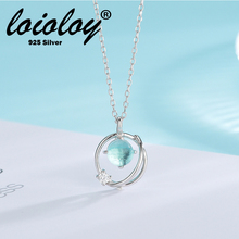 Loioloy Real 100% 925 Sterling Silver Key Star Earth Necklace For Women Blue Planet Charm Three Styles