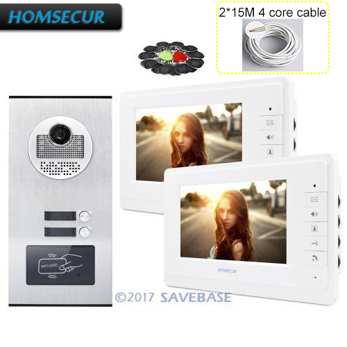 HOMSECUR 7 TFT Video Door Entry Intercom Kit with One Button Unlock for House/Flat+2*15m 4-core Cable ...