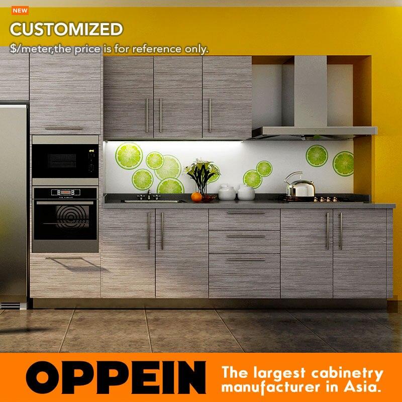 Wood Grain Laminate Kitchen Cabinet