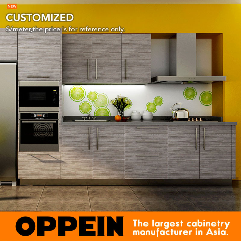 US $341.0  7 Days Delivery Blum Hardware Wood Grain Laminate kitchen  cabinet from factory guangzhou OP14 K007-in Kitchen Cabinets from Home ...
