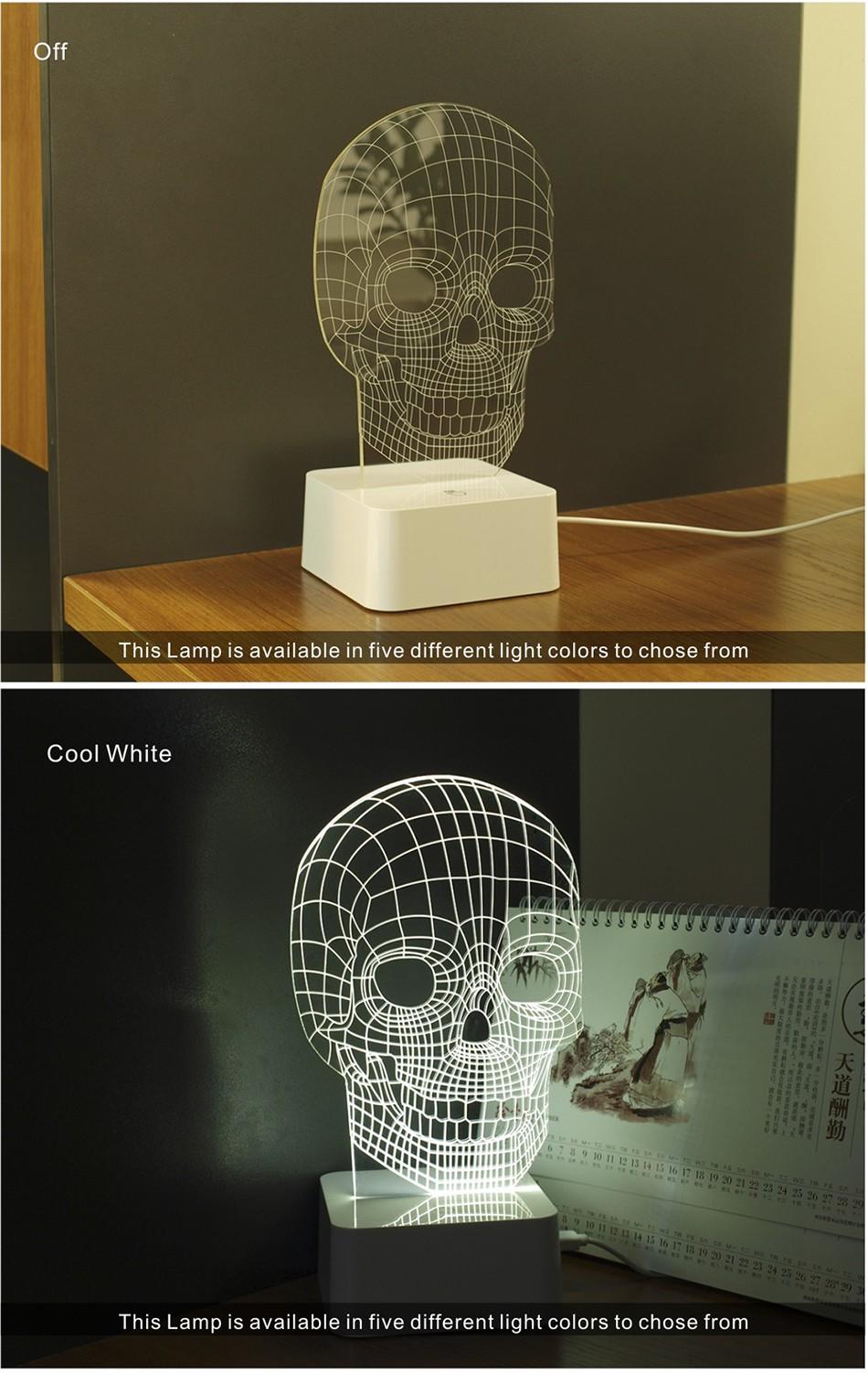 3d White Line Shadeless Terror Skull Dimmable 3d Led Light Bed Room Lamp  (3)