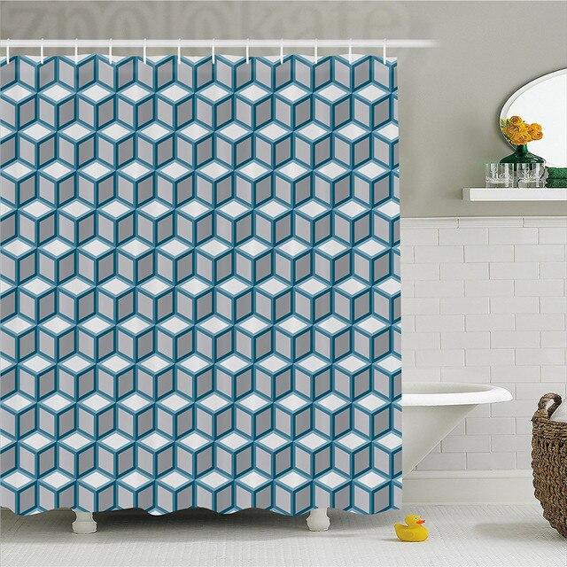 Geometric Decor Shower Curtain Fractal Cubes Dimensional Diamond