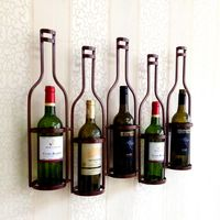 Metal 5 Bottle Shaped Metal Wall Wine Rack , Holds 5 Wine Bottles