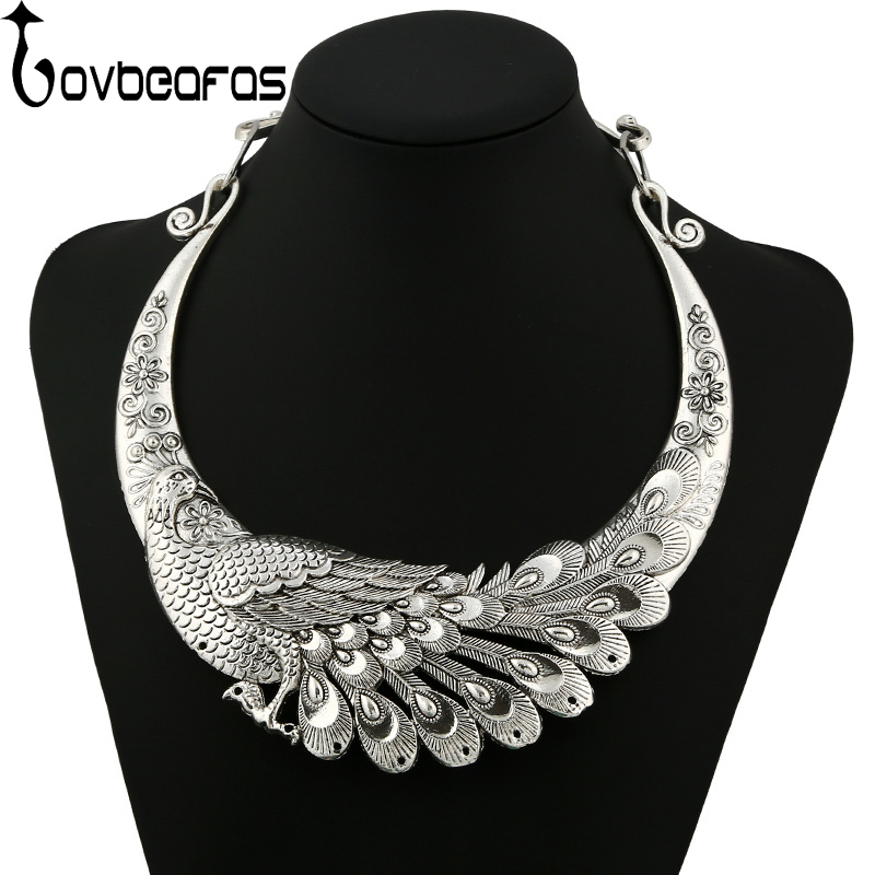LOVBEAFAS 2018 Fashion Ethnic Bohemian Choker Necklace Vintage Peacock Chinese Element Maxi Necklace Statement Collar Necklace plus size funnel collar maxi asymmetric hoodie