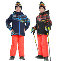 2019 Winter Boys Skiing Sets Fleece Jackets Overalls Kids Snow Suits Outdoor Warm Children Clothing Outfits Sport Clothes