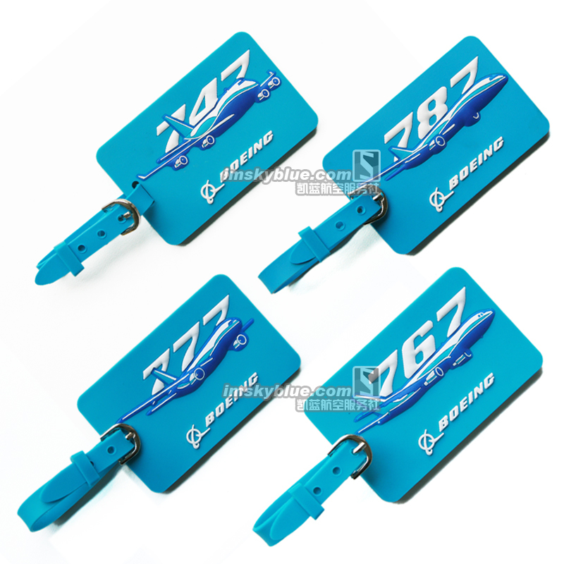 Boeing Sky Blue Rectangle Rubber Luggage Tag Boeing 747/ 767/ 777/ 787