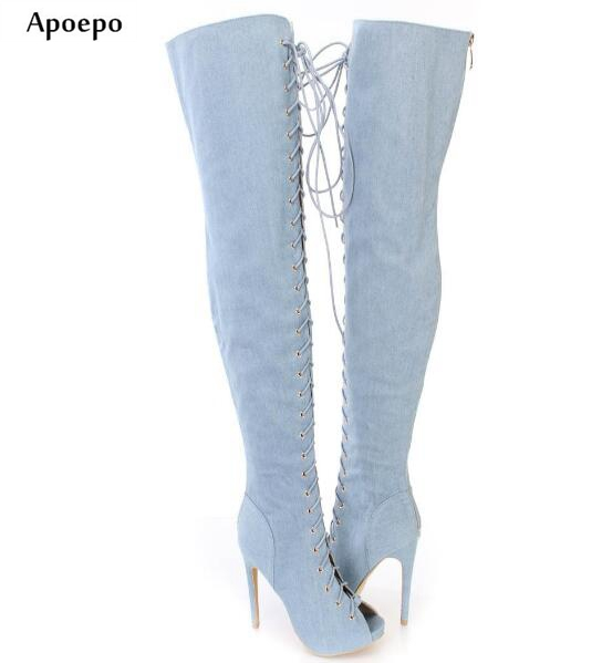 цена на Apoepo Woman Denim Blue Long Boots 2018 Sexy Peep Toe Over the Knee Boots Rome Style Lace-up Thigh High Boots Jeans Boots
