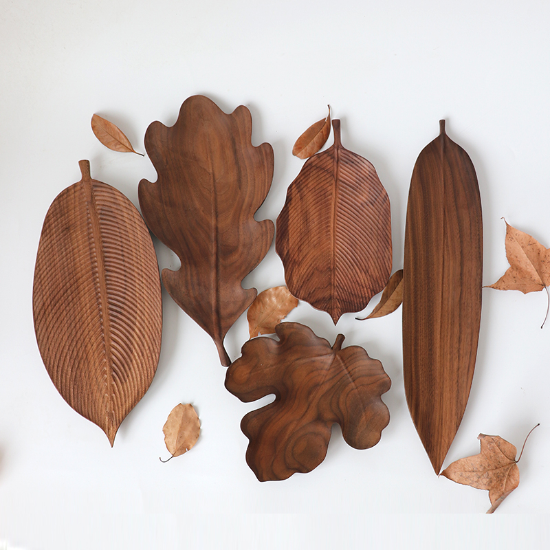 Black Walnut Plate Original Handmade Leaf Shape Snack Nut Cake Fruit Plate Creative Log Tea tray wood Quality serving tableware