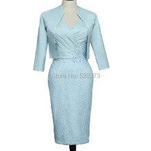8bf623a2f79614 YNQNFS MD69 Elegante Feestjurk Half Mouwen Korte Moeder van de Bruid Bruidegom  Jurken Outfits Pak met Jas Blauw formele Jurk