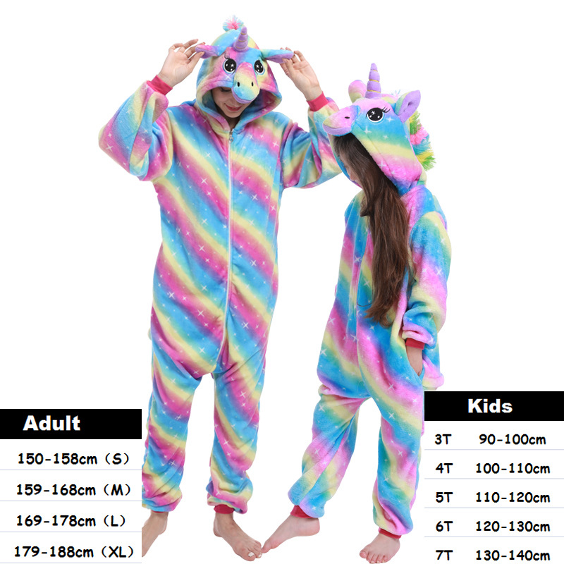 Kids Adults Unicorn Kigurumi Onesie Women Animal Costume Anime Cosplay Onepiece Pyjamas Panda Children Boys Girl Winter Jumpsuit