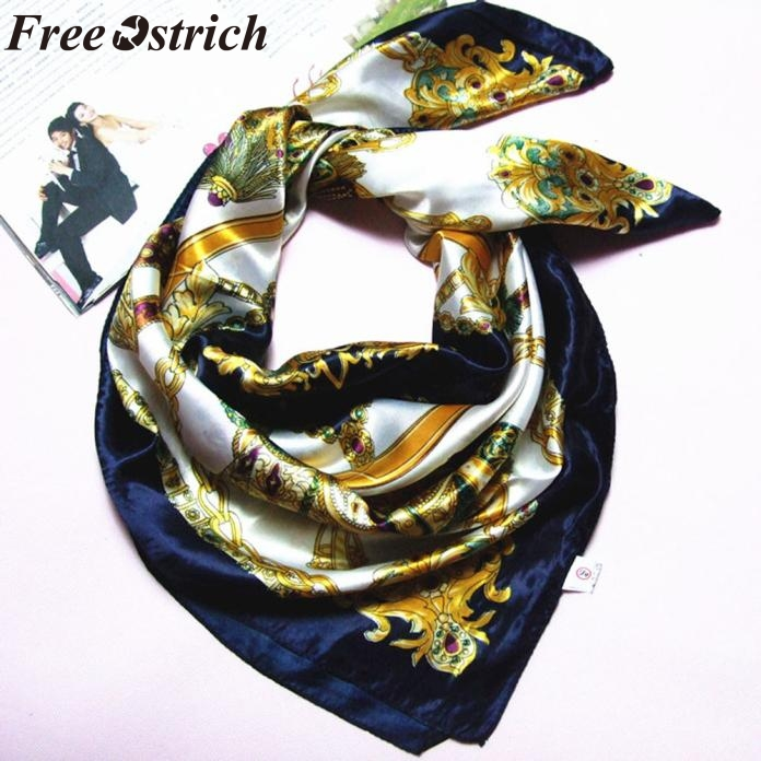 FREE OSTRICH Best Quality Vintage Fashion Women Big Size 90x90cm Imitated Silk Square Scarf High Quality Shawl sjaal luxe(China)