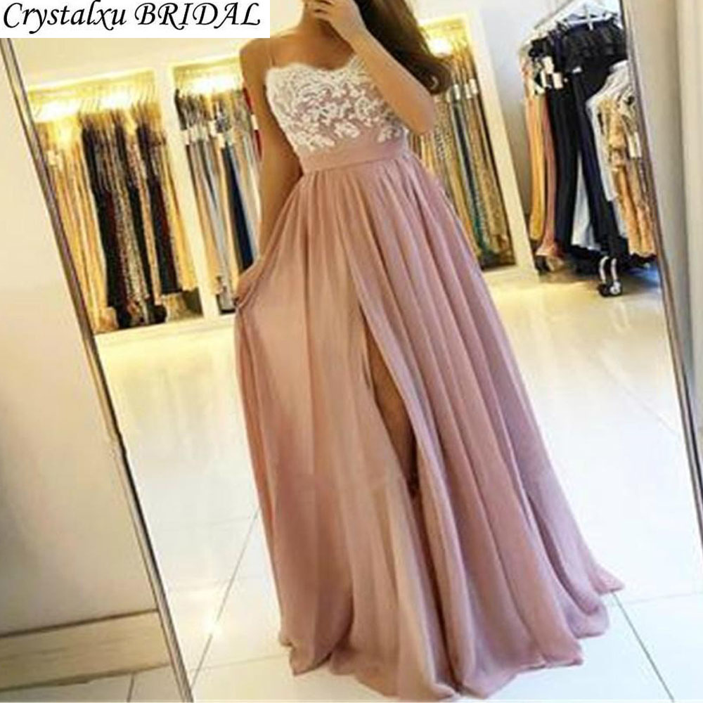 Blush Pink Bridesmaid Dresses Spaghetti Straps White Lace Chiffon Long Wedding Guest Dress Maid Of Honor Dress Party For Women(China)