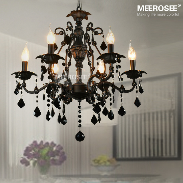 6 Lamps Pendant Lighting Vintage Interior Decoration Crystal Clic Black Room Light American Wrought Iron Hanging