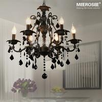 6 Lamps Pendant Lighting Vintage interior decoration Crystal Classic Black Room Light American Wrought Iron Hanging Lamp Lustre