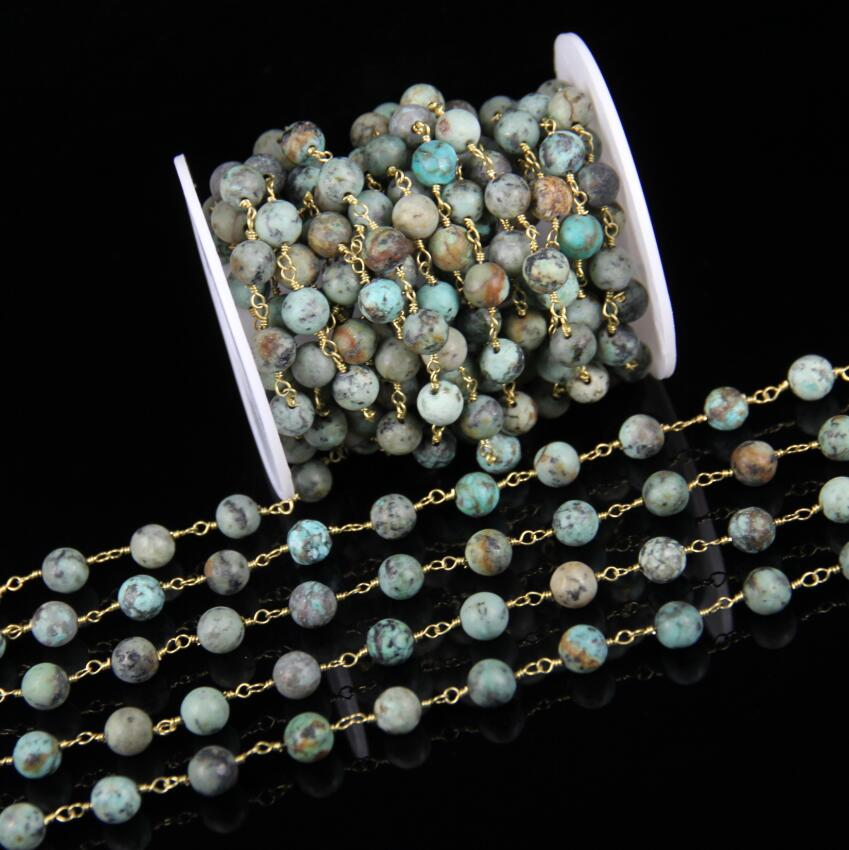 8mm Natural African Turquoises Rosary Chains DIY Bracelet,5meters smooth Stones Beads Chains Wire Wrapped Beading Necklace Chain 5meters 6mm cross gold copper wire wrapped multi color turquoises round howlite rosary chains crafts bracelet necklace bulk bh12