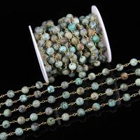8mm Natural African Turquoises Rosary Chains DIY Bracelet,5meters smooth Stones Beads Chains Wire Wrapped Beading Necklace Chain