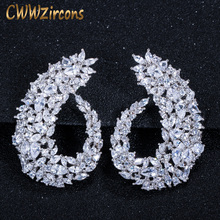 CWWZircons Sparking Cubic Zirconia Silver Color Women Big Flower Hoop Earrings for Brides Wedding Jewelry Accessories  CZ416