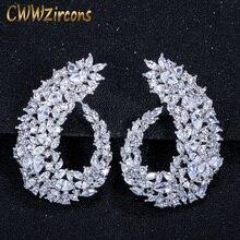 CWWZircons aro pendientes de plata de primera ley y Circonia cúbica para mujer, aretes, aros, Zirconia, circonita, zirconita, zirconita, flor grande, accesorio de boda, CZ416