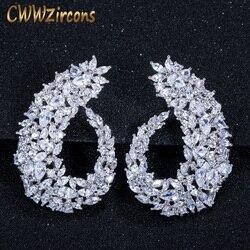 Cwwzircons sparking zirconia cúbica prata cor feminino grande flor hoop brincos para noivas acessórios de jóias casamento cz416