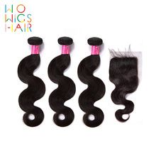WoWigs Human Hair Peruvian Body Wave 3 Bundles With Closure / Frontal Remy weave with Natural Color 1B